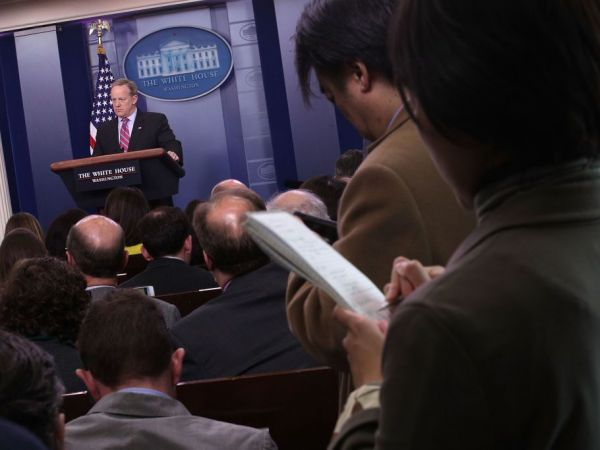 Sean Spicer tells reporter to 'stop shaking your head'