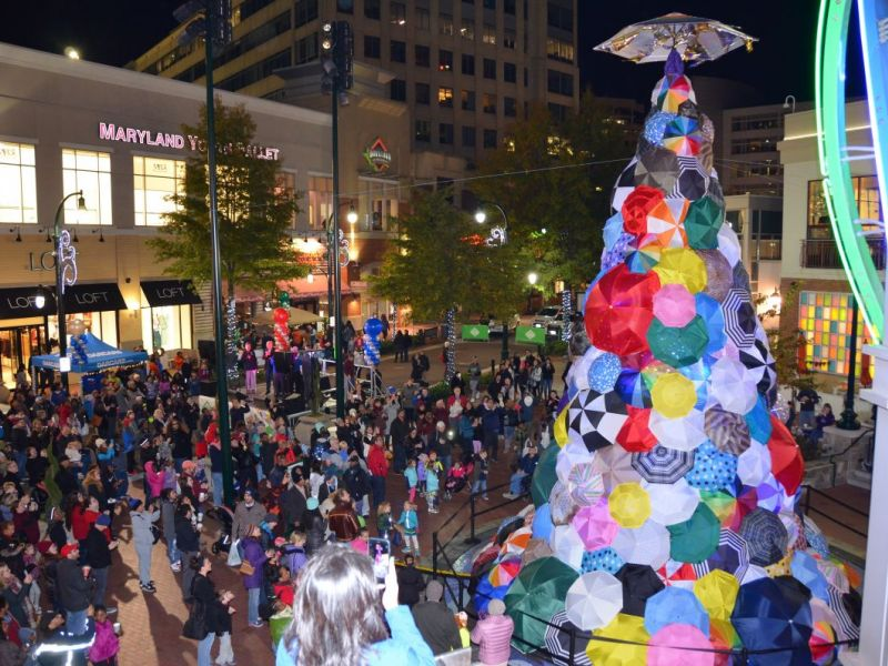 positivi tree lights up downtown silver spring silver spring md patch - Umbrella Christmas Tree