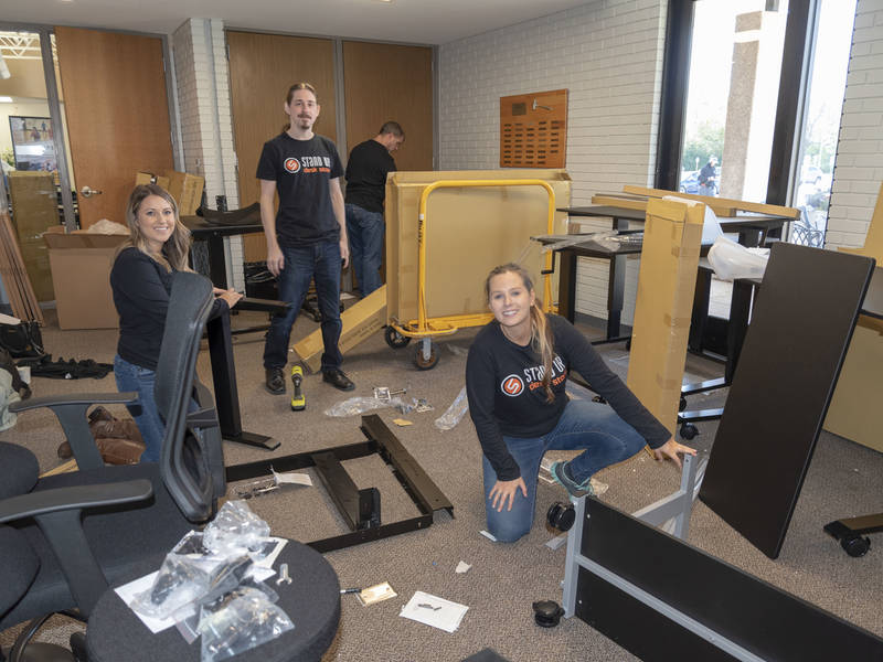 Stand up desk store grant creates healthier workspace at