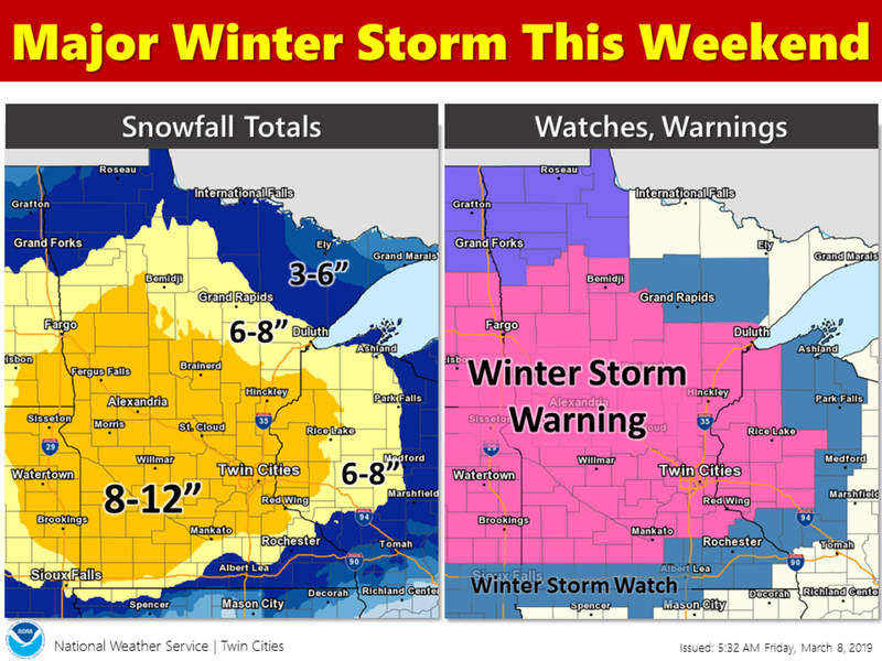minnesota weather  8 to 12 inches of snow expected this