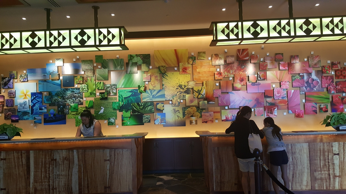 This Photo Mural Behind The Aulani Reception Desk, In A Rainbow Of Colors,  Where Each Picture Was Submitted By A Child Of Hawaii.