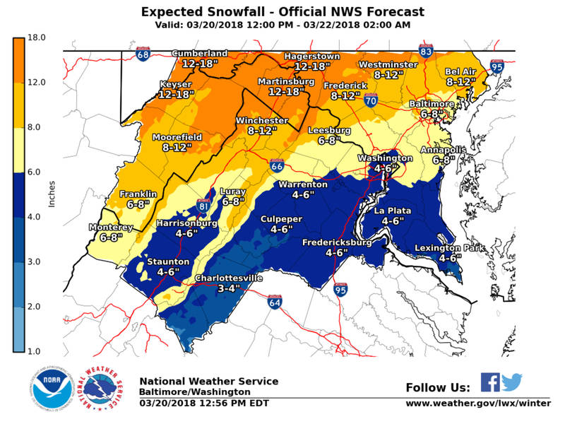 Maryland Winter Storm Warning 5 To 12 Inches Snow Possible