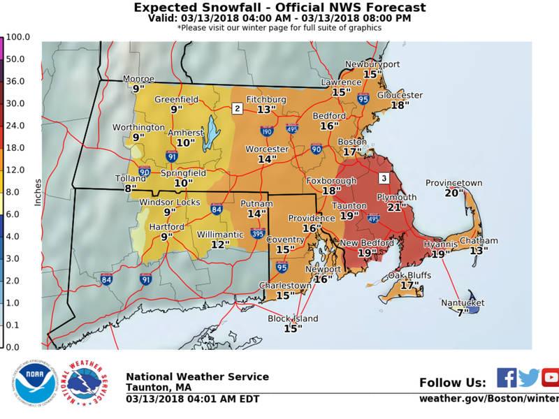 Rhode Island Snow Totals