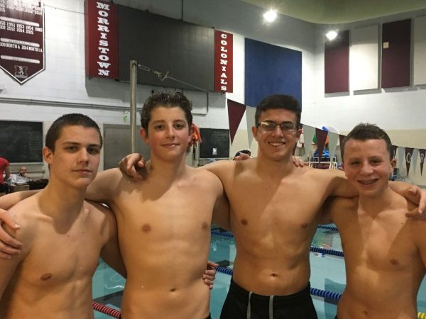 West morris central boys swim team sets school records long valley nj patch for Mark morris high school swimming pool