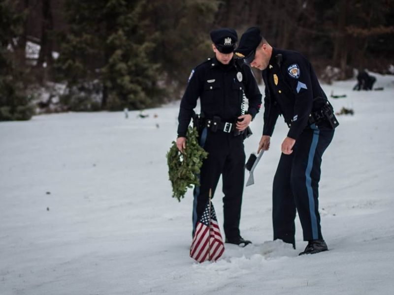 Police Participate In Wreaths Across America In Long