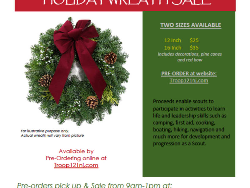 boy scout troop 121 holiday wreath fundraiser