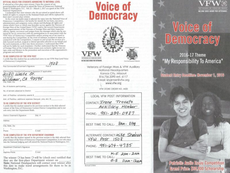 Personal Reflective Essay Example The Vfw Invites You To Participate In The Voice Of Democracy Audioessay  Contest  Lake Elsinore Ca Patch Othello Iago Essay also Shawshank Redemption Essay Topics High School Students The Vfw Invites You To Participate In The  French Essay Phrases