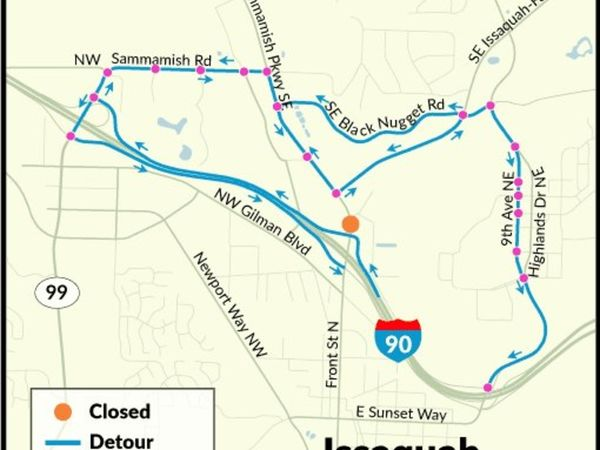 Big lake sammamish parkway detour begins tuesday for Big fish issaquah