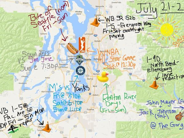wsdot map illustrates extremely busy traffic weekend in pu
