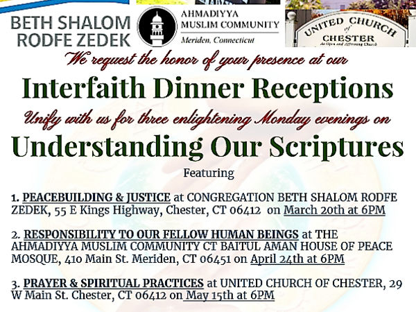 Inter-Religious Clergy of CT River Valley to hold Interfaith Dinner Reception at Ahmadiyya Mosque