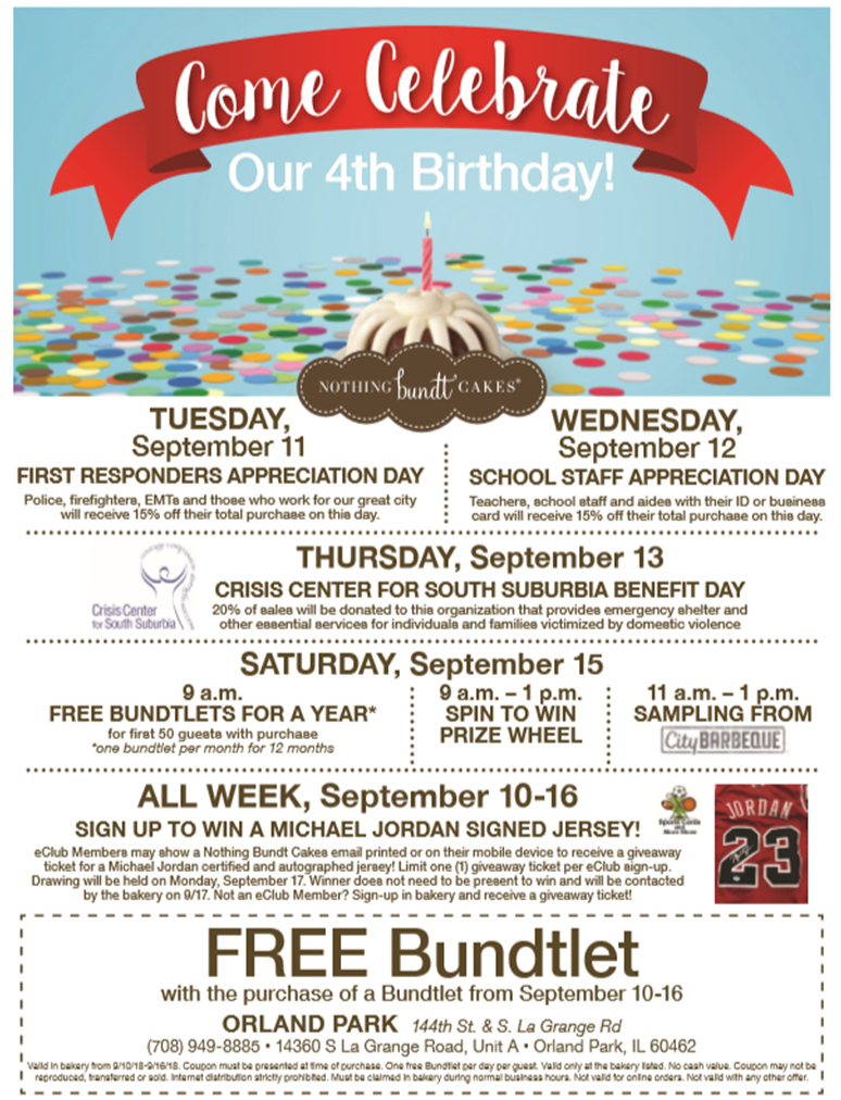 Nothing Bundt Cakes Wants You To Celebrate Their 4th Birthday In