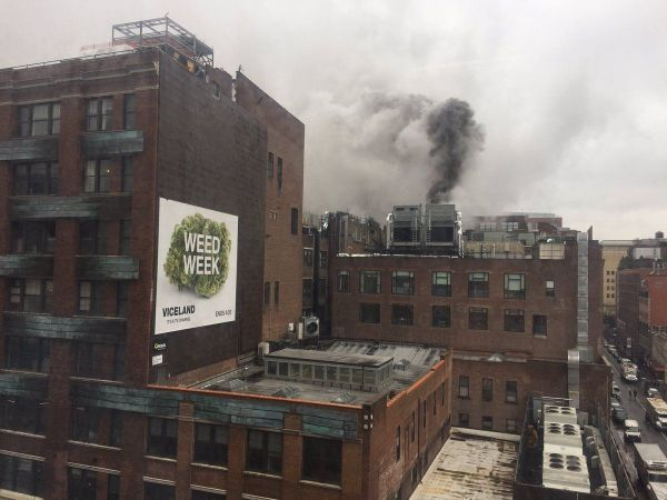 Fire erupts on Chelsea Market roof
