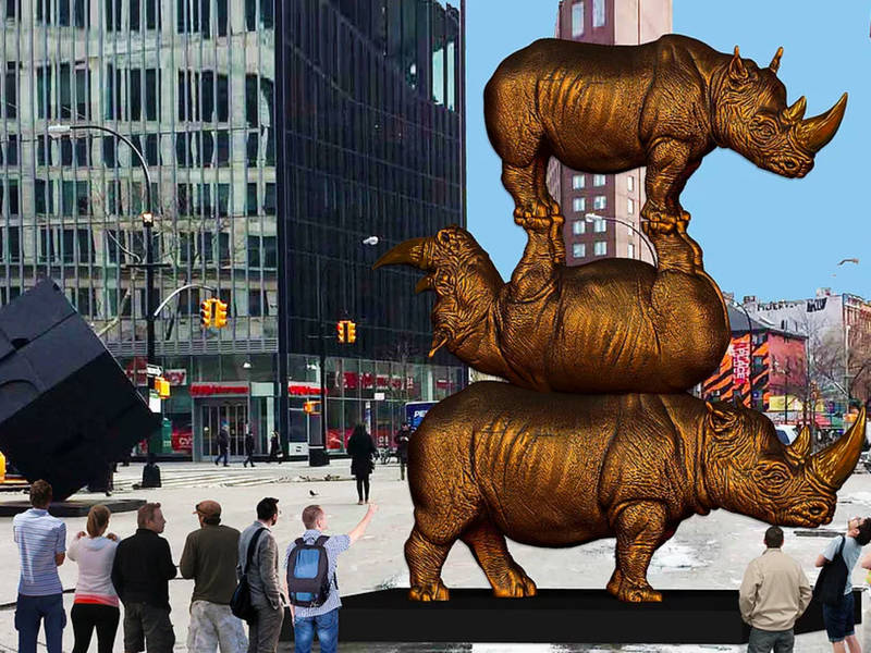 A Giant Rhino Statue Is Coming To Astor Place Next Year