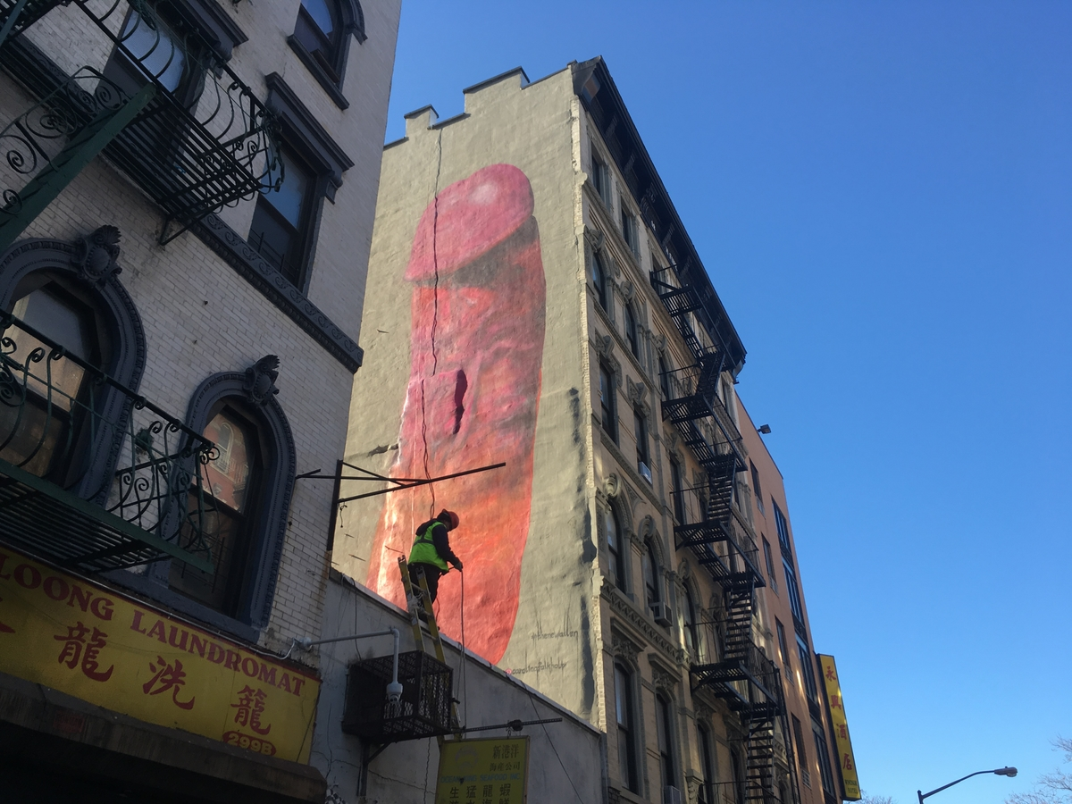 Explicit les mural painted without landlord 39 s permission for Mural on broome street
