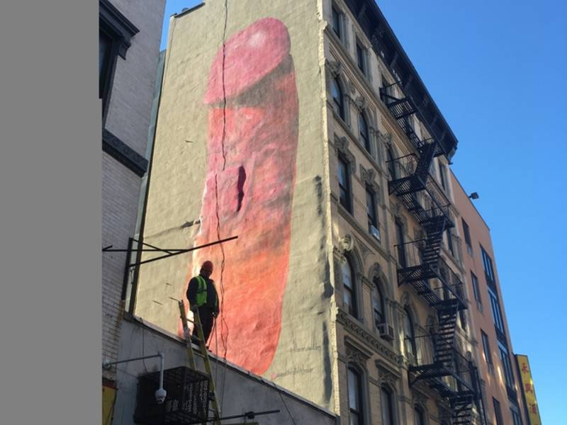 Penis mural painted on lower east side building lower for Mural on broome street