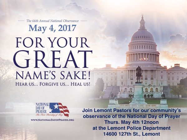 National Day of Prayer Event to be held May 4