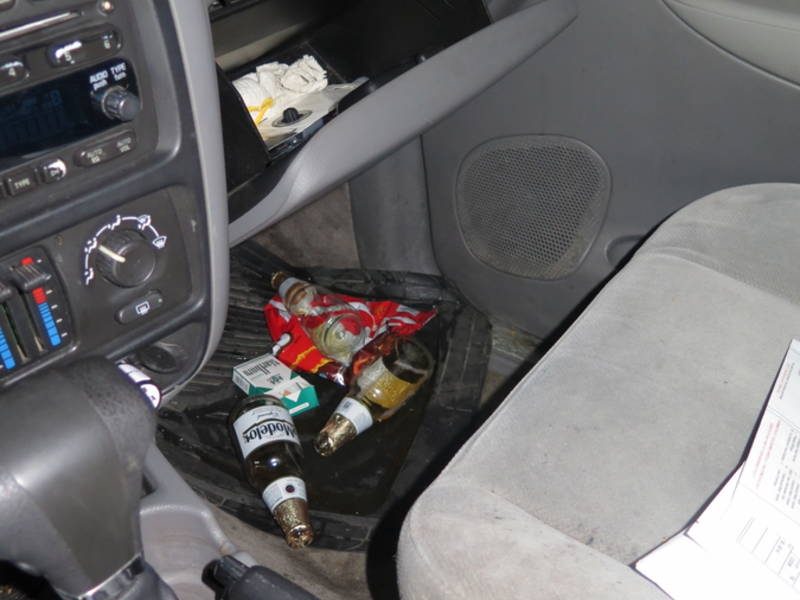 Drunk Driver Arrested With Open Beer Tequila In Front