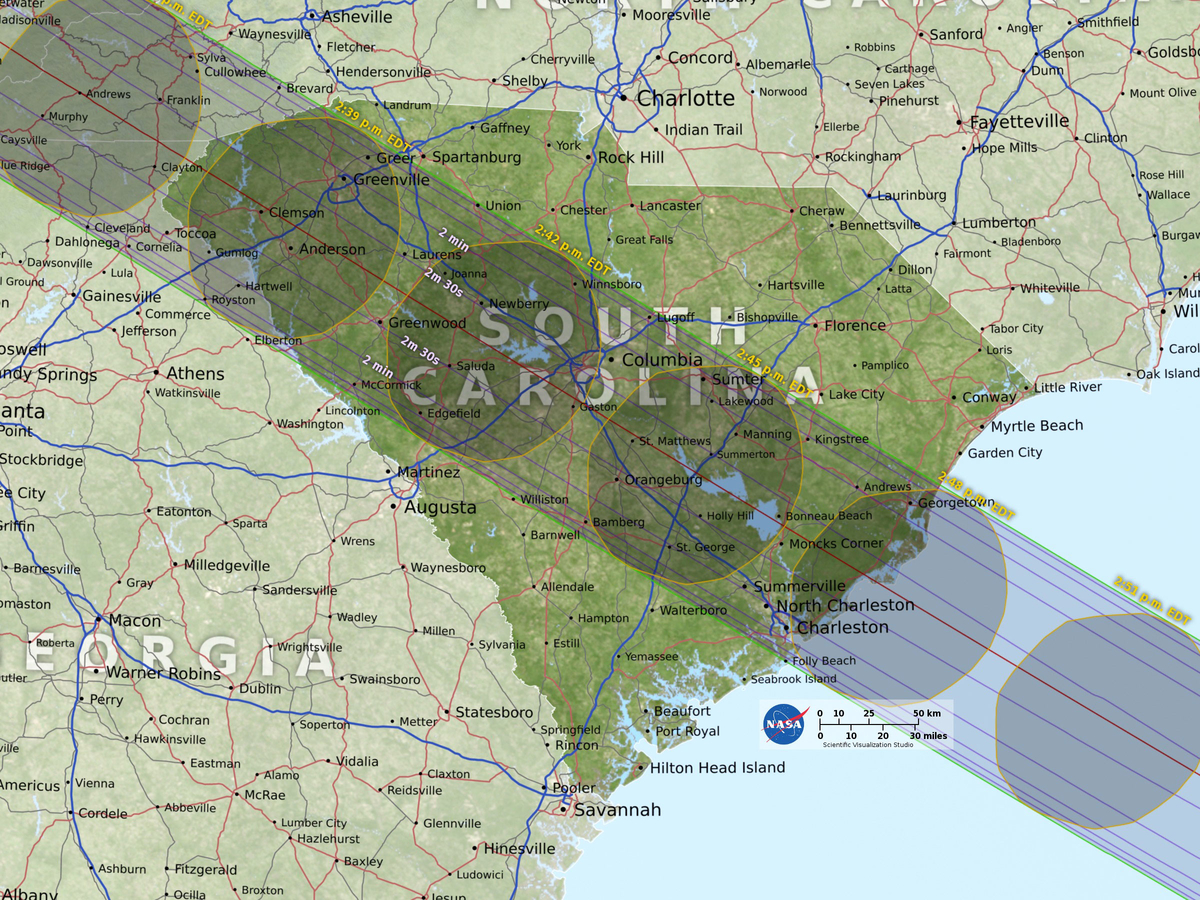 Total Solar Eclipse Carolinas Prep For Historical Event - Charlotte nc on us map