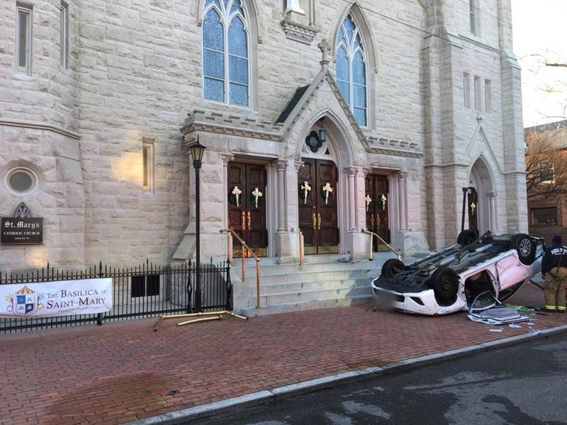 Car Flips Over In Front Of Old Town Alexandria Church