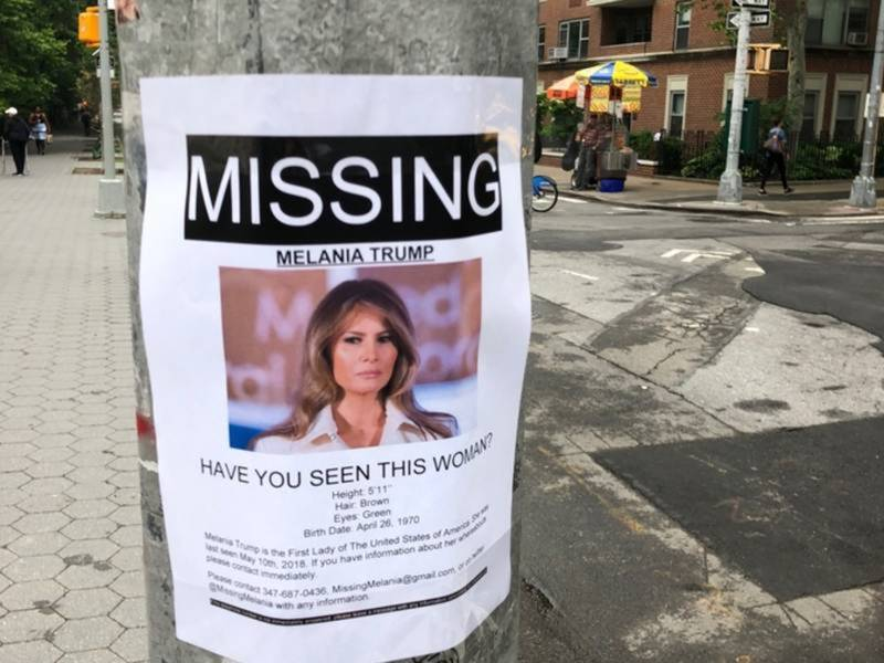 flyers in nyc seek info on missing melania trump patch pm new