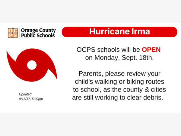 hurricane irma aftermath orange county schools reopening