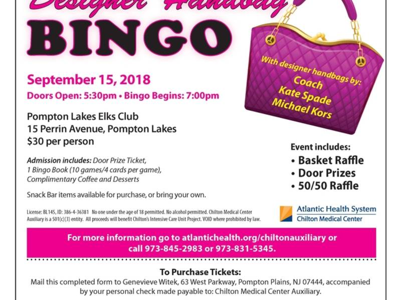 chilton auxiliary designer handbag bingo tickets on sale now tri