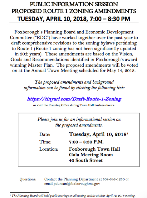 Hear About The Proposed Route 1 Zoning Changes Foxborough Ma Patch