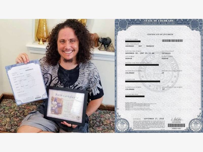 Intersex Birth Certificate Issued By The State Of Colorado Denver