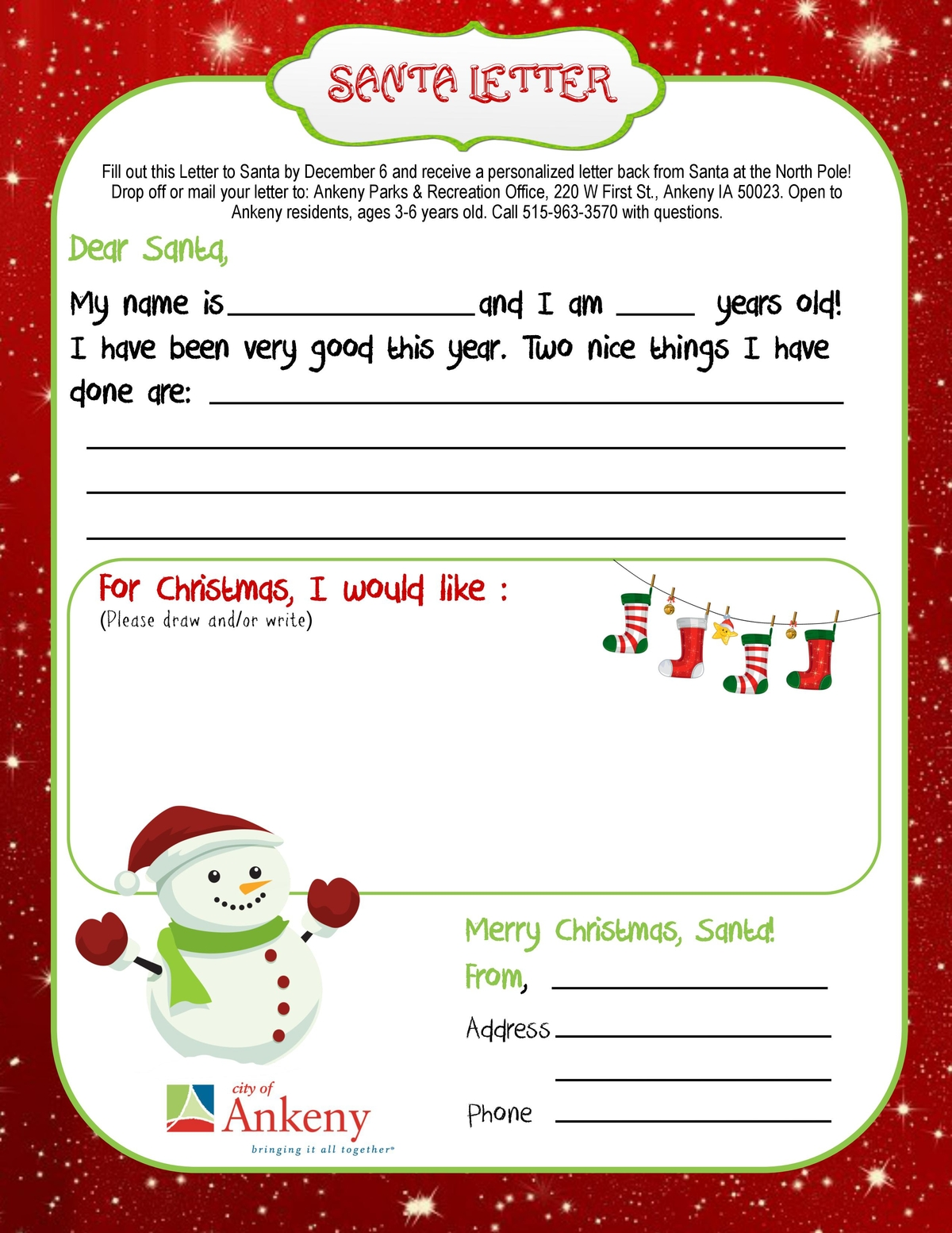 Ankeny Kids Can Get A Letter From Santa  Ankeny Ia Patch