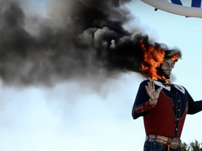 Big tex got on fire