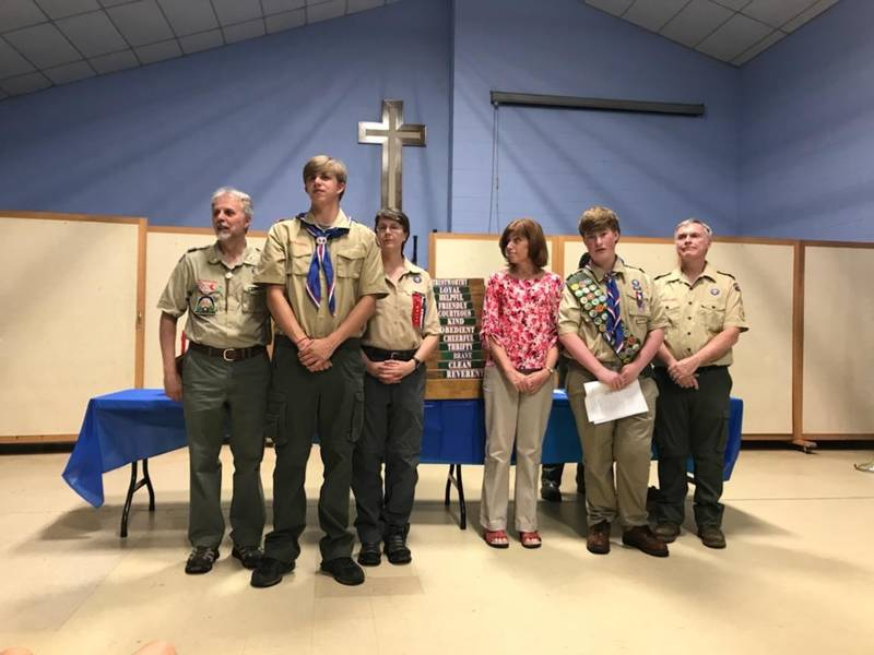 Boy Scout Troop 580 Members Are Pictured From Left In Front Scoutmaster Richard Masterson Miles Smith Brandon Albanesi And Ethan Gilbert Back