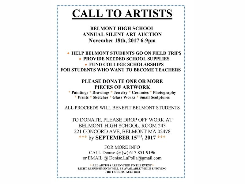 Call to Artists - Donate to Belmont High School Silent Auction