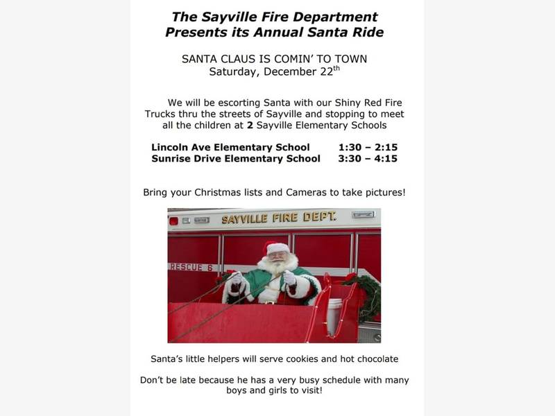 Sayville Fire Department Santa Ride Dec. 22