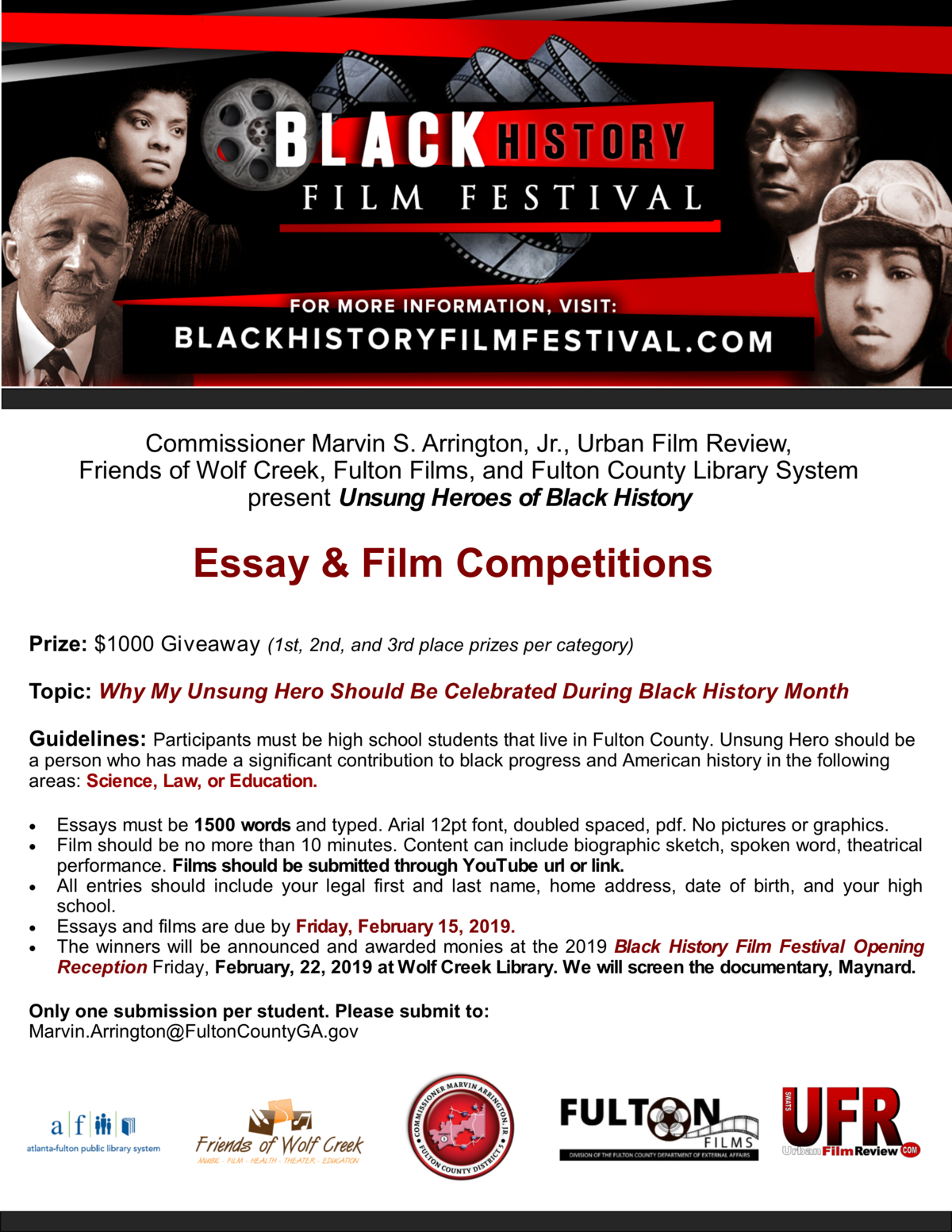 Black History Film Festival Essay  Film Competition  Atlanta  Essays And Films Must Be Submitted To Marvinarringtonfultoncountygagov  By Friday February   English Essays Topics also Www Oppapers Com Essays  Essays On High School