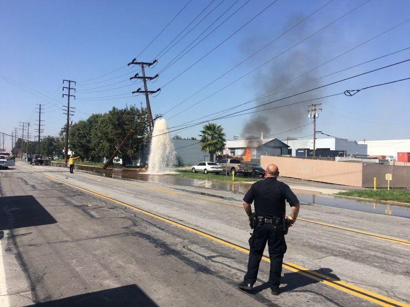 Santa Fe Springs Crash Causes Building Fire Downs Power