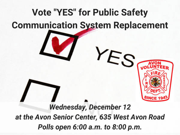 "Avon Volunteer Fire Department Wants a ""YES"" Vote on December 12"