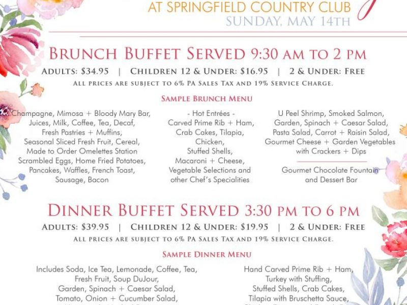 Mother S Day Brunch At Springfield Country Club