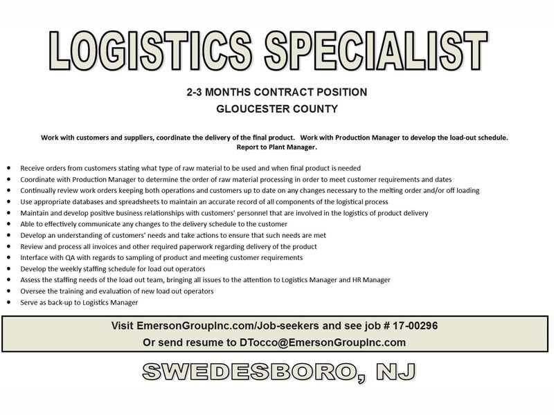 LOGISTICS SPECIALIST Needed 2 3 Month CONTRACT Position