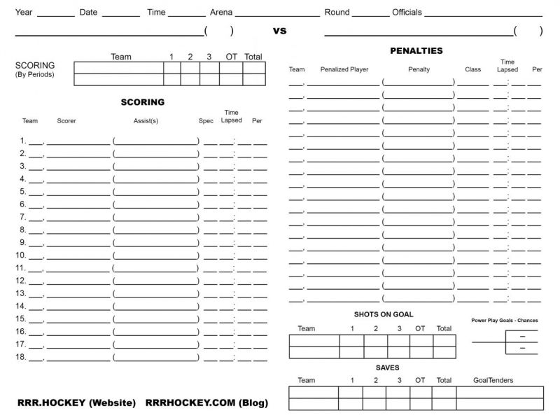 Free Printable  Minnesota State Boys Hockey Score Sheet  Saint