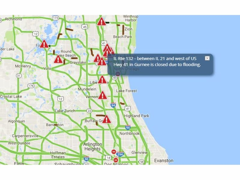 Flood Update Lake County Road Closures To Snarl Traffic Drone - Flooded roads map