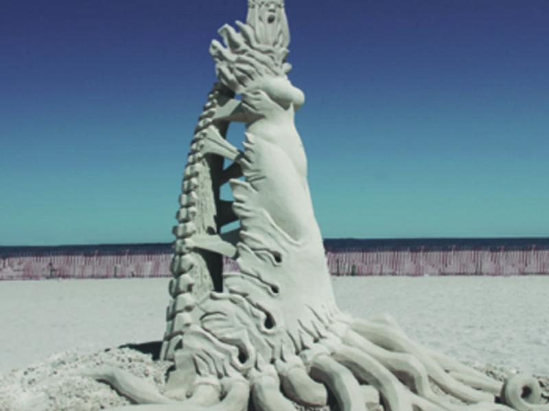 Hampton Beach Sand Sculptures Damaged
