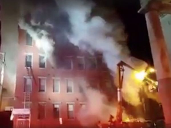 Large fire collapses buildings in Portsmouth