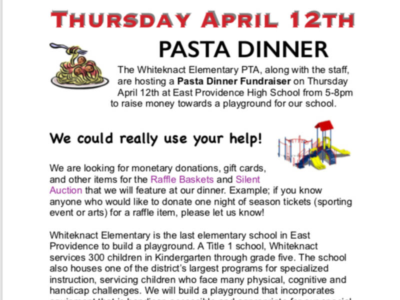 SAVE THE DATE Pasta Dinner Fundraiser East Providence RI Patch