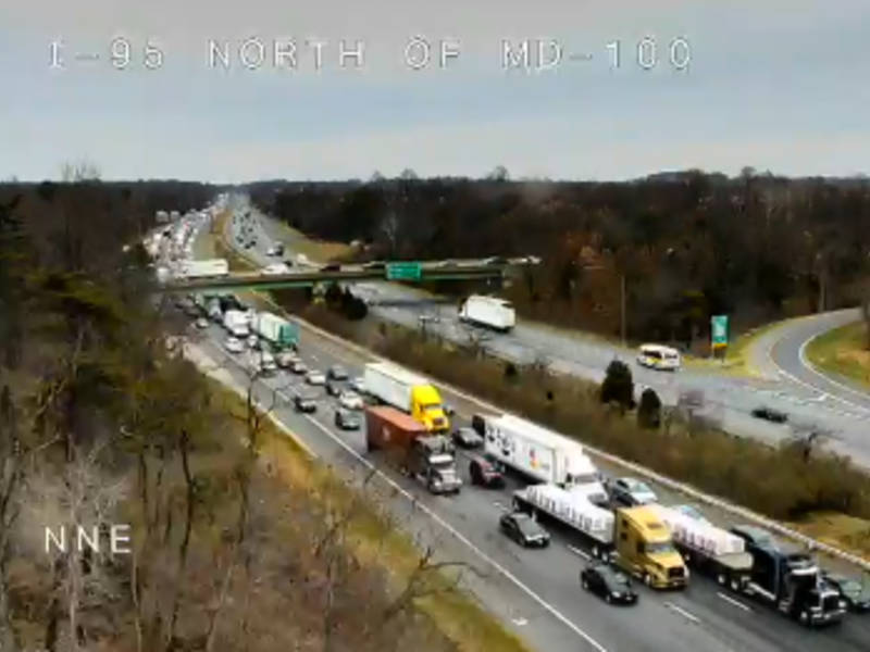I 95 crash snarls traffic at route 100 sha patch for Route 1 motors inc laurel md