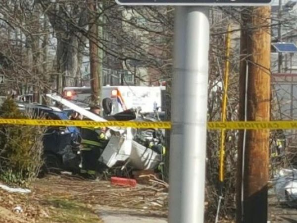 Small plane crashes on residential street in Bayonne, New Jersey