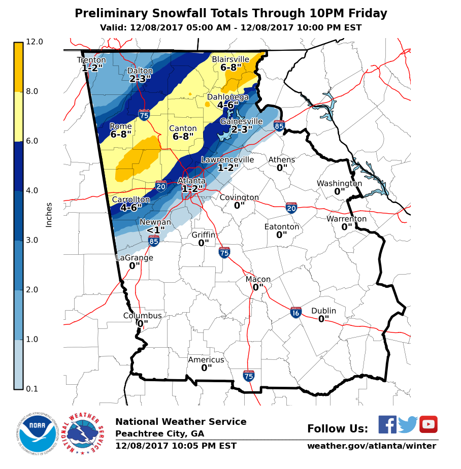 Hour by hour ga snowstorm forecast estimated totals rise additional snowfall accumulations of 1 3 inches are expected overnight for much of north georgia with isolated higher amounts possible gumiabroncs Image collections