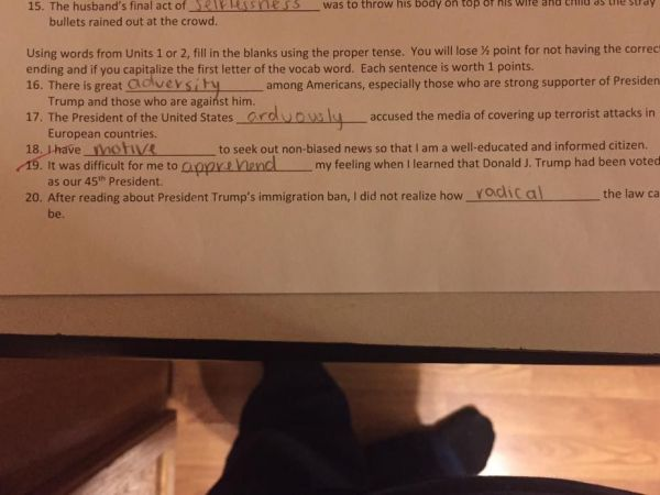 Trump Quiz Questions Anger Plainfield Parent