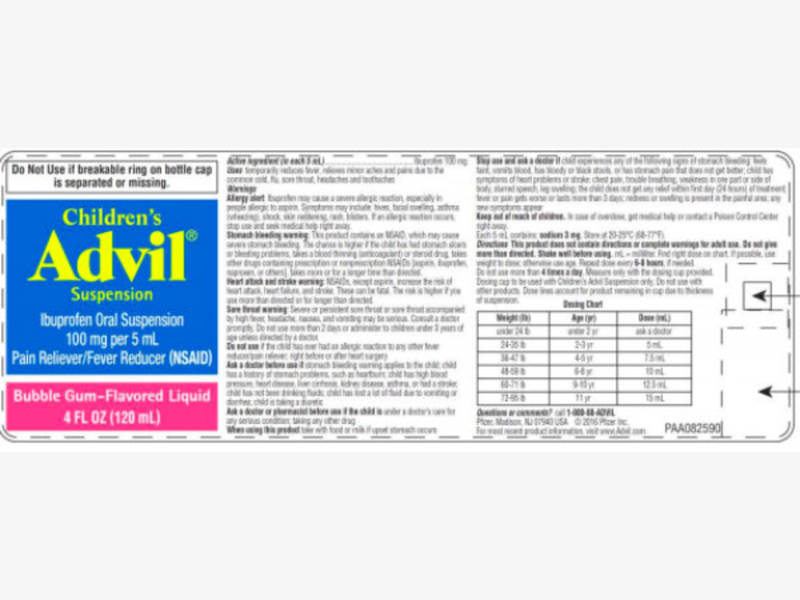 Childrens Advil Recall Potential Overdose How To Check Labels