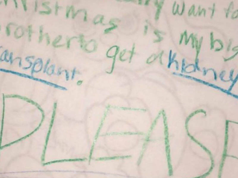Please Santa Bring My Brother A Kidney Girls Agonizing Letter