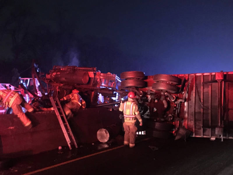 Fatal Accident: I-20 East Shutdown, Trailer Overturned, On Fire